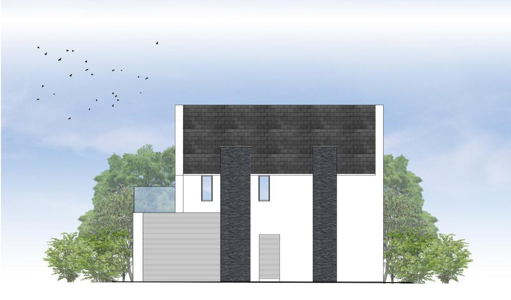 Alwoodley side elevation - Alwoodley house extension